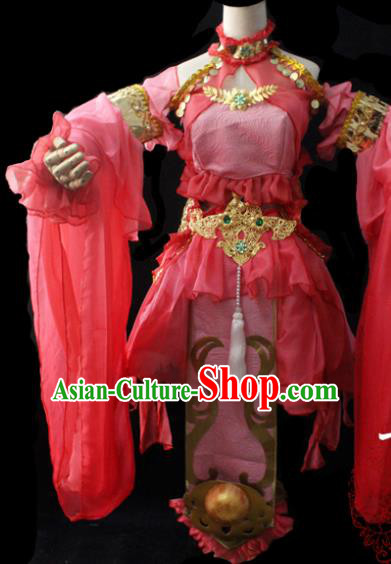 Chinese Cosplay Fairy Princess Pink Short Dress Ancient Female Swordsman Knight Costume for Women