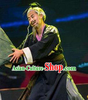 Chinese Drama Dragon Boat Festival Old Male Clothing Stage Performance Dance Costume for Men