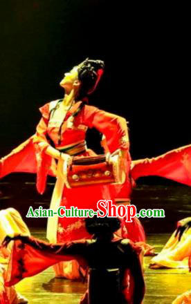 Chinese Drama Dragon Boat Festival Classical Dance Red Dress Stage Performance Costume and Headpiece for Women