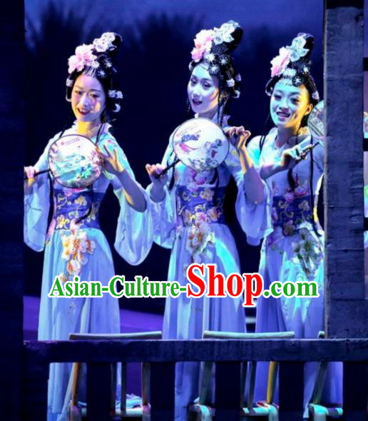 Chinese Drama Dragon Boat Festival Classical Dance Blue Dress Stage Performance Costume and Headpiece for Women