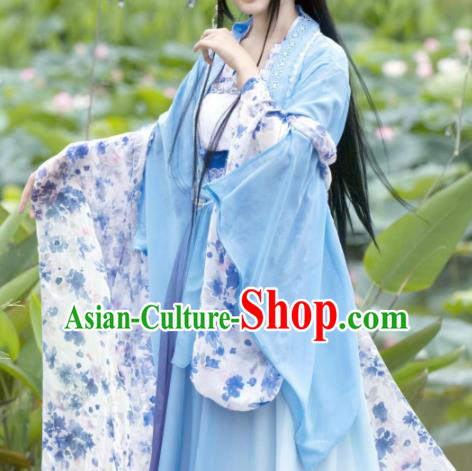 Chinese Cosplay Goddess Fairy Princess Blue Dress Ancient Female Swordsman Knight Costume for Women