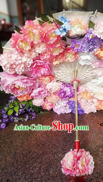 Traditional Chinese Hanfu Pink Peony Umbrella Ancient Princess Umbrellas for Women