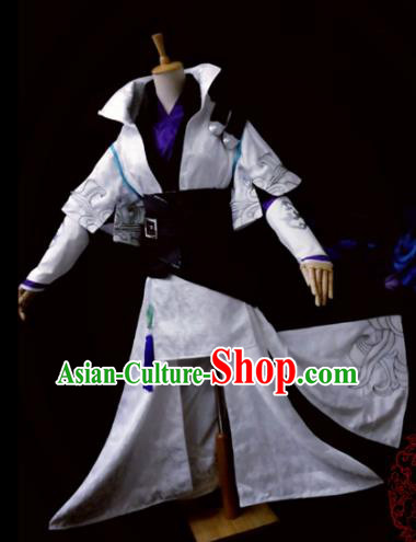 Traditional Chinese Cosplay Young Hero White Clothing Ancient Swordsman Costume for Men