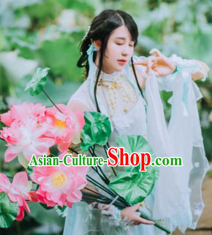 Chinese Cosplay Fairy Female Swordsman White Dress Ancient Knight Princess Costume for Women