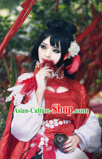 Chinese Cosplay Fairy Red Dress Ancient Female Swordsman Knight Costume for Women