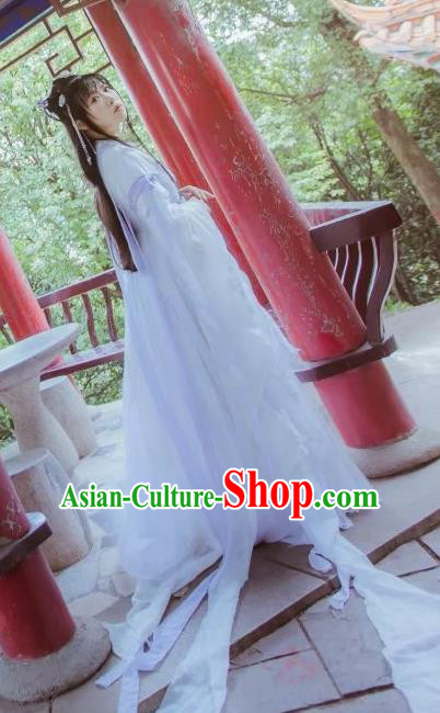 Chinese Cosplay Goddess Princess White Dress Ancient Female Swordsman Knight Costume for Women