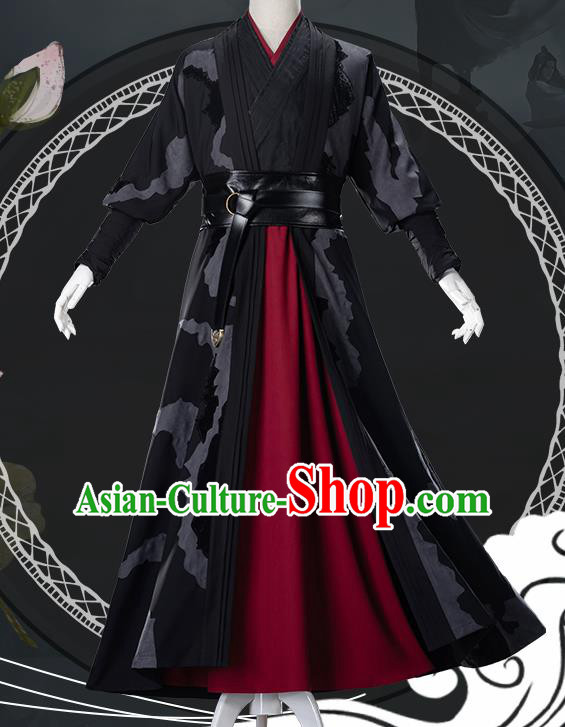 Traditional Chinese Cosplay Nobility Childe Black Clothing Ancient Swordsman Costume for Men