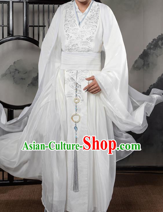 Traditional Chinese Cosplay The Untamed Prince White Clothing Ancient Swordsman Costume for Men