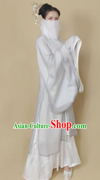 Chinese Ming Dynasty Light Grey Chiffon Cloak Ancient Female Swordsman Knight Costume for Women