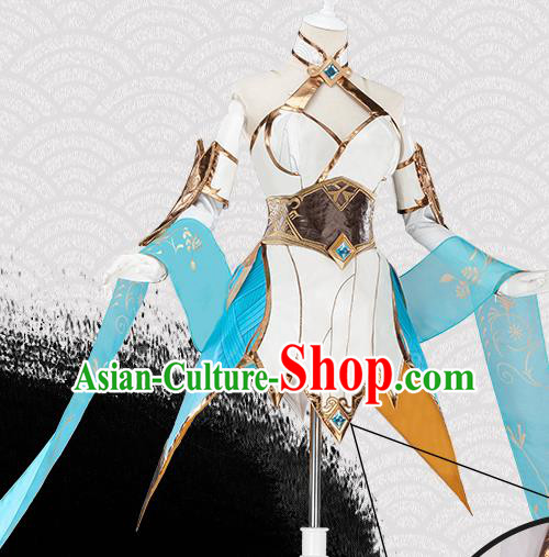 Traditional Chinese Cosplay Swordswoman White Short Dress Ancient Heroine Costume for Women