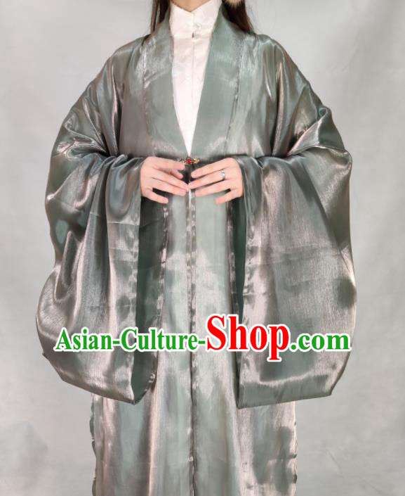 Chinese Ming Dynasty Princess Grey Silk Cloak Ancient Court Lady Costume for Women