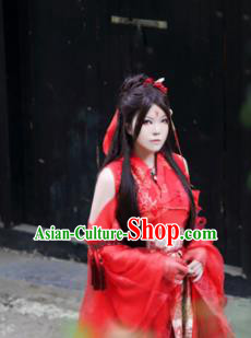 Traditional Chinese Cosplay Swordswoman Red Dress Ancient Royal Princess Costume for Women