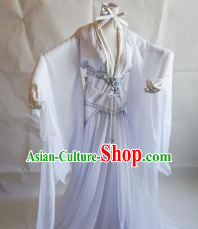 Traditional Chinese Cosplay Swordswoman White Dress Ancient Royal Princess Costume for Women