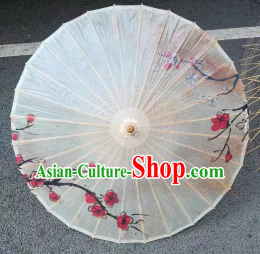 Chinese Handmade Plum Pattern White Oil Paper Umbrella Traditional Decoration Umbrellas