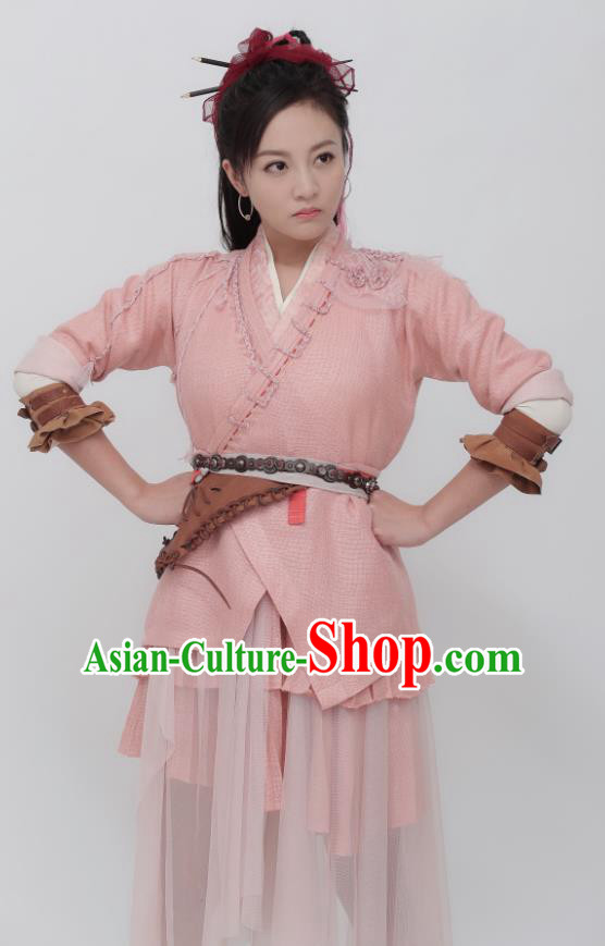 Ancient Chinese Drama Female Swordsman Pink Hanfu Dress Chivalrous Costumes for Women