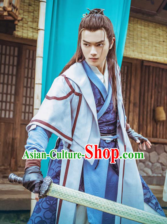 Ancient Chinese Jianghu Swordsman Wang Lu Hanfu Clothing Drama Chivalrous Costumes for Men
