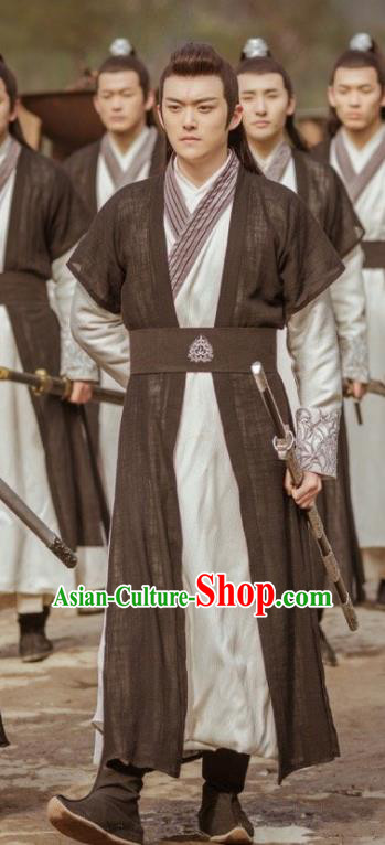 Chinese Ancient Taoist Black Hanfu Clothing Drama Swordsman Costumes for Men