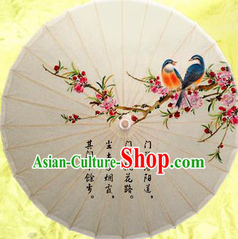 Chinese Handmade Printing Malus Spectabilis Oil Paper Umbrella Traditional Decoration Umbrellas
