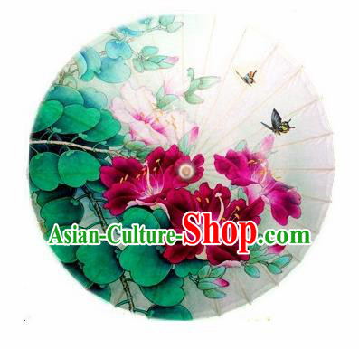 Chinese Handmade Red Flowers Butterfly Oil Paper Umbrella Traditional Decoration Umbrellas