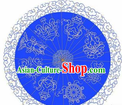 Chinese Handmade Printing Auspicious Patterns Blue Oil Paper Umbrella Traditional Decoration Umbrellas