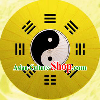 Chinese Handmade Printing Tai Chi Eight Diagrams Yellow Oil Paper Umbrella Traditional Decoration Umbrellas