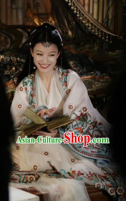 Drama Love and Destiny Chinese Ancient Flowers Goddess Ling Xi NiNi Embroidered White Costumes and Headpiece for Women