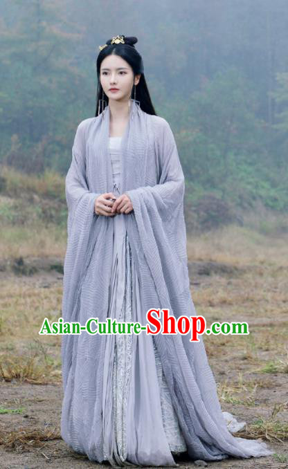 Chinese Ancient Goddess Swordswoman Drama Love and Destiny Qing Yao Zhang Zhi Xi Blue Costumes and Headpiece for Women