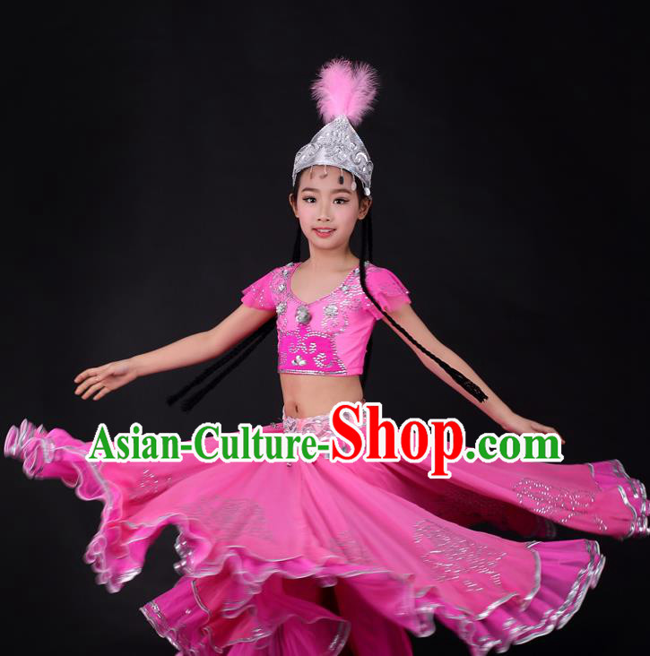 Traditional Chinese Child Xinjiang Uyghur Minority Rosy Dress Ethnic Folk Dance Costume for Kids