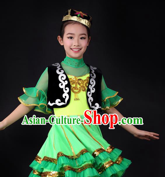 Traditional Chinese Child Xinjiang Uyghur Nationality Green Dress Ethnic Minority Folk Dance Costume for Kids
