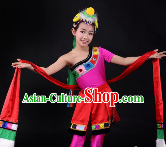 Traditional Chinese Child Zang Nationality Red Dress Ethnic Minority Folk Dance Costume for Kids