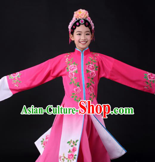 Traditional Chinese Classical Dance Pink Dress Stage Show Water Sleeve Costume for Kids
