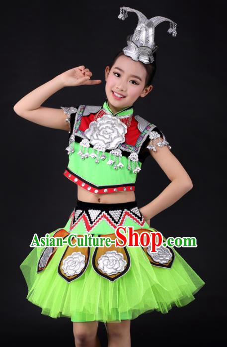 Traditional Chinese Child Miao Nationality Green Short Skirt Ethnic Minority Folk Dance Costume for Kids