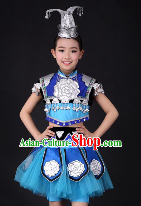 Traditional Chinese Child Miao Nationality Blue Skirt Ethnic Minority Folk Dance Costume and Headpiece for Kids