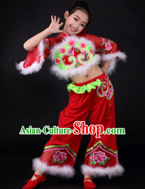 Traditional Chinese Folk Dance Red Clothing Yangko Dance Stage Show Costume for Kids