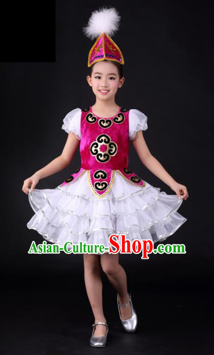 Traditional Chinese Child Kazak Nationality Short Dress Ethnic Minority Folk Dance Costume for Kids