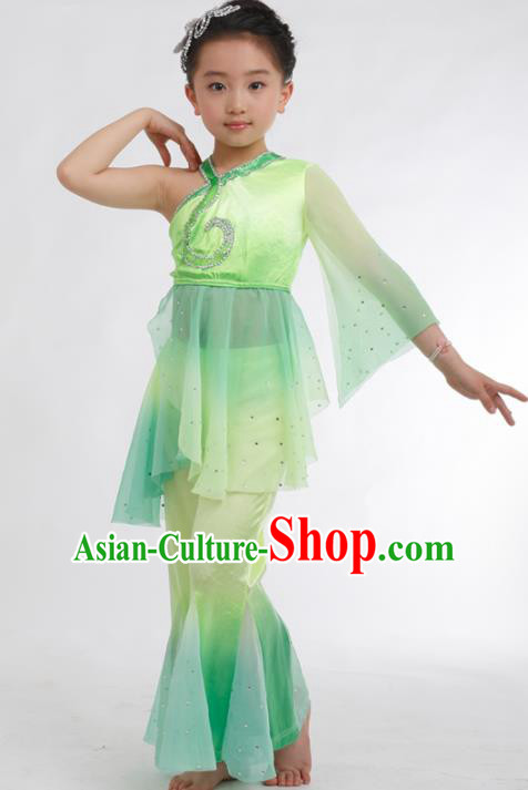 Traditional Chinese Folk Dance Fan Dance Green Veil Clothing Yangko Dance Stage Show Costume for Kids