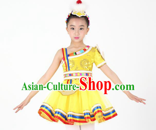 Traditional Chinese Child Zang Nationality Yellow Short Dress Ethnic Minority Folk Dance Costume for Kids