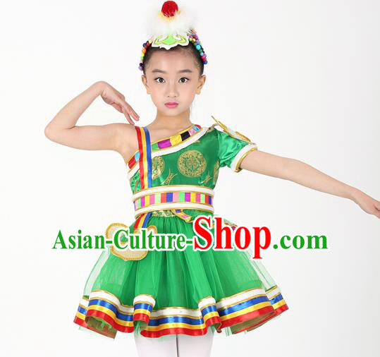 Traditional Chinese Child Zang Nationality Green Short Dress Ethnic Minority Folk Dance Costume for Kids