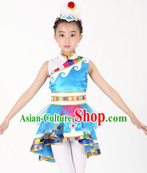 Traditional Chinese Child Zang Nationality Blue Veil Short Dress Ethnic Minority Folk Dance Costume for Kids