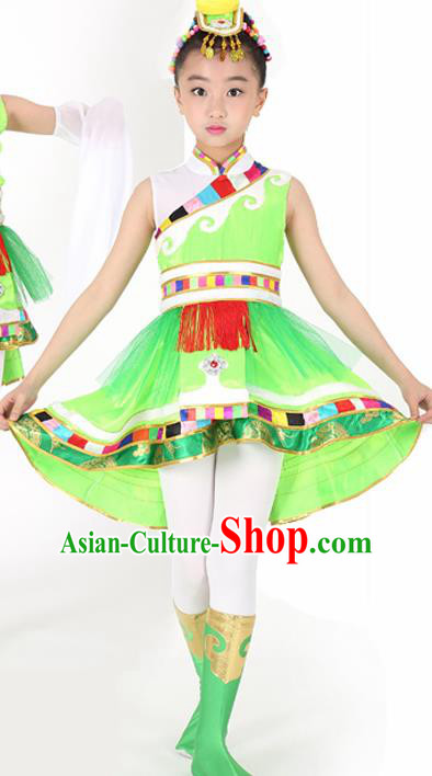 Traditional Chinese Child Zang Nationality Green Veil Short Dress Ethnic Minority Folk Dance Costume for Kids