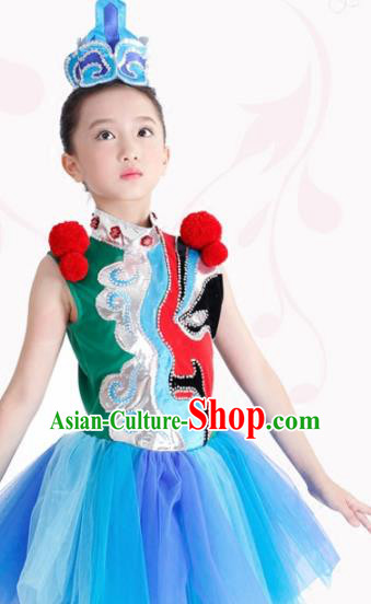Traditional Chinese Children Classical Dance Blue Clothing Stage Show Costume for Kids
