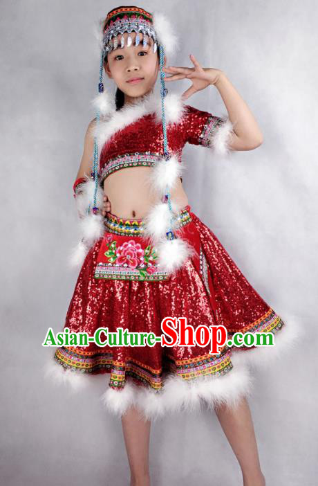 Traditional Chinese Child Mongol Nationality Red Short Skirt Ethnic Minority Folk Dance Costume for Kids
