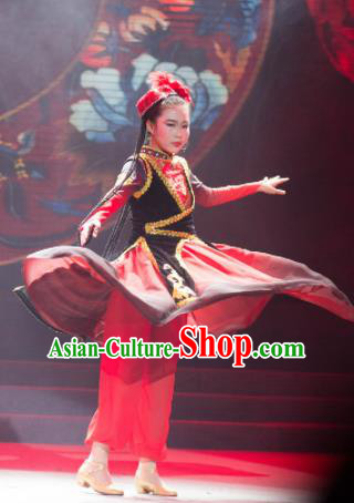 Traditional Chinese Child Xinjiang Uyghur Nationality Dress Ethnic Minority Folk Dance Costume for Kids