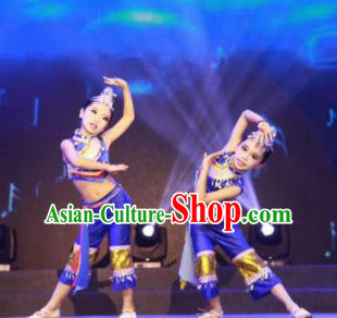 Traditional Chinese Child Yi Nationality Blue Dress Ethnic Minority Folk Dance Costume for Kids