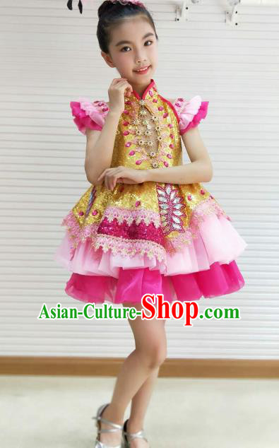 Traditional Chinese Children Opening Dance Pink Short Dress Stage Show Costume for Kids