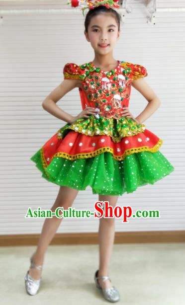 Traditional Chinese Children Opening Dance Green Short Dress Stage Show Costume for Kids