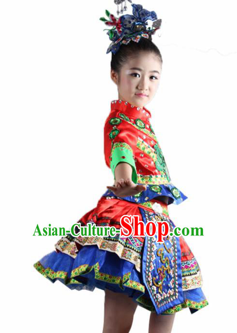Traditional Chinese Dong Nationality Child Red Dress Ethnic Minority Folk Dance Costume for Kids
