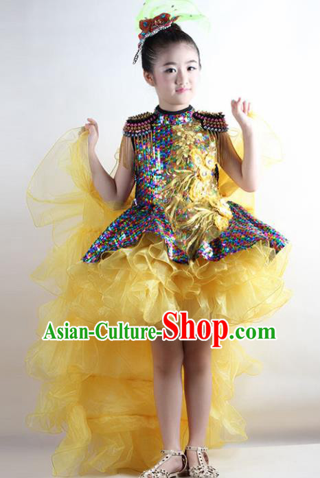 Traditional Chinese Children Classical Dance Yellow Veil Trailing Dress Stage Show Costume for Kids