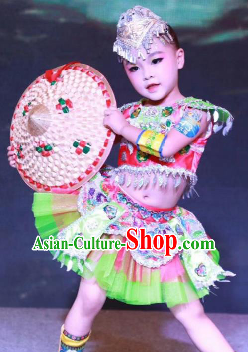 Traditional Chinese She Nationality Child Short Dress Ethnic Minority Folk Dance Costume for Kids