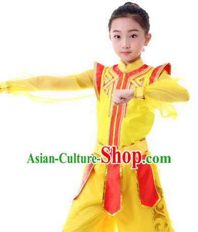 Traditional Chinese Children Classical Dance Hua Mulan Yellow Clothing Stage Show Costume for Kids